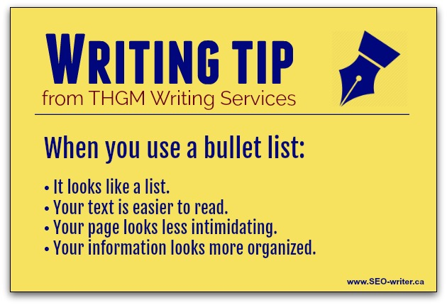 Writing tip - use bullet lists instead of long-winded sentences