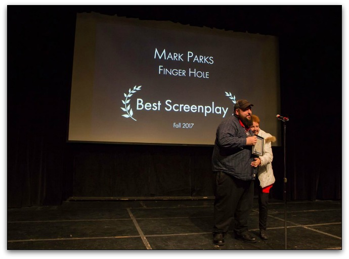Screenwriter and Director Mark Parks wins an award in 2017