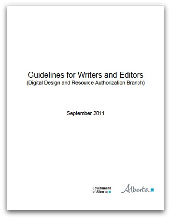Guidelines for Writers and Editors in Alberta