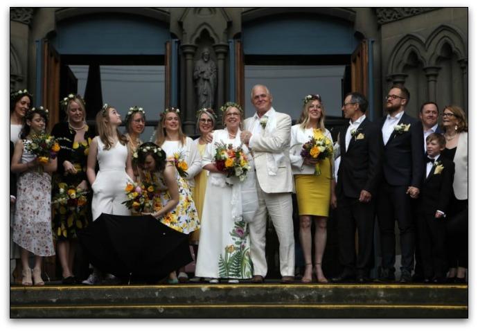 Eliabeth May's green wedding dress
