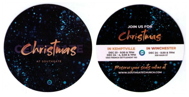 Christmas marketing for Southgate Church in Winchester and Kemptville
